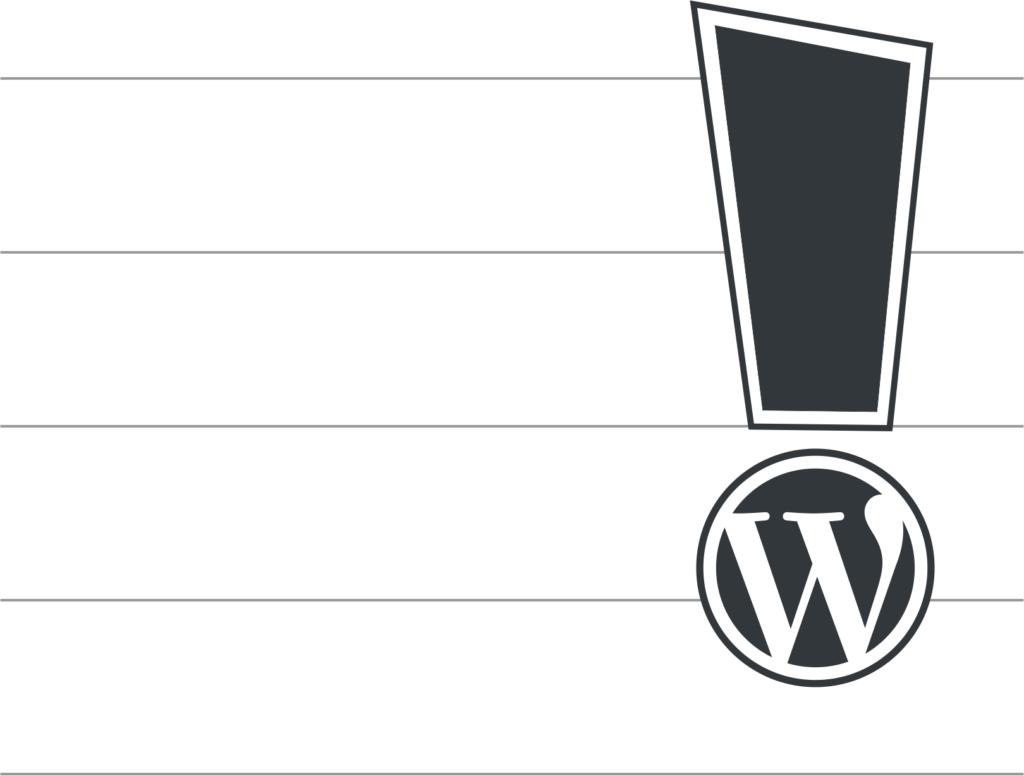 Logo WordPress mit Ausrufezeichen