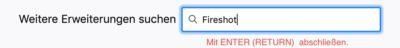 Firefox Pluginname in Suchfenster eingeben
