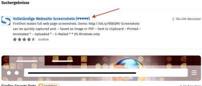 Screenshot Installation Fireshot Suchergebnis