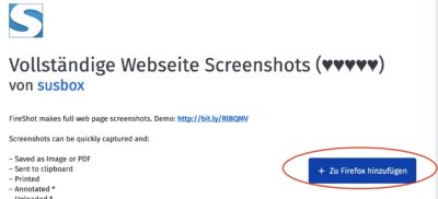 Screenshot Installation Fireshot Installation