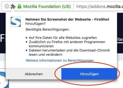 Screenshot Installation Fireshot Hinzufügen