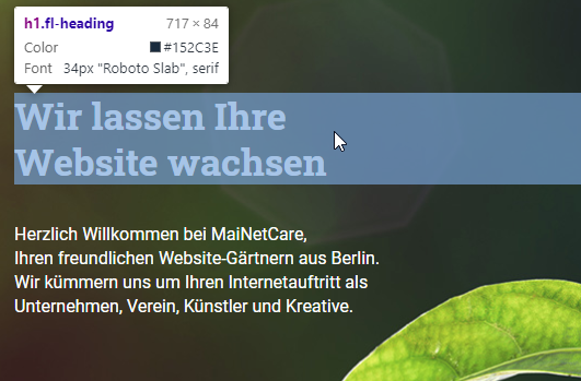 Inspektor-Ansicht auf die Hauptüberschrift auf mainetcare.de