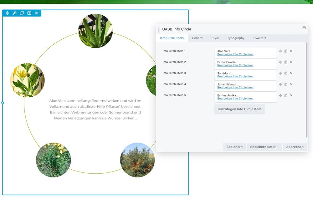 Der Info-Circle: Ein Beispiel für ein Content-Element beim Homepage Baukasten