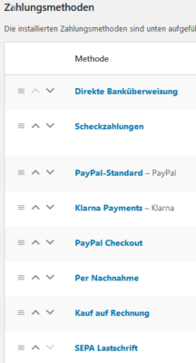 Screenshot: WooCommerce Online-Shop - Zahlungsarten