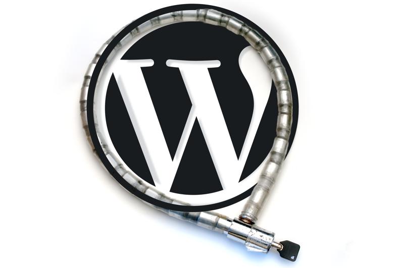 Symbolbild Wordpress-Sicherheit - Wordpress-Logo mit Fahrradschloss